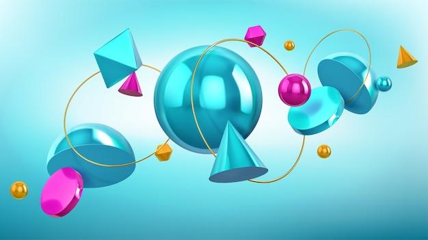 Holographischer hintergrund mit geometrischen formen, kugeln und goldenen ringen 3d. abstraktes design mit türkis und blau rendern figuren, kegel, kugel, oktaeder und halbkugel auf blauem hintergrund Kostenlosen Vektoren