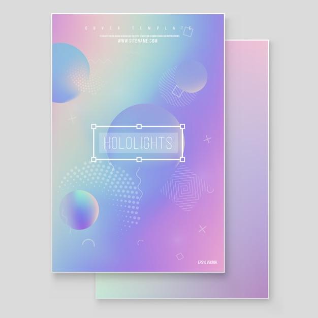 Holographischer magischer folienmarmorhintergrund-vektorsatz des papiers. minimalistisches hipster-design irisierende grafik Premium Vektoren