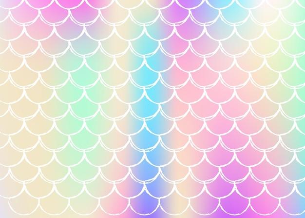 Holographischer skalenhintergrund mit gradient meerjungfrau. helle farbübergänge. fischschwanz banner und einladung. Premium Vektoren