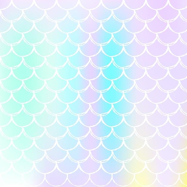 Holographischer skalenhintergrund mit gradient meerjungfrau Premium Vektoren