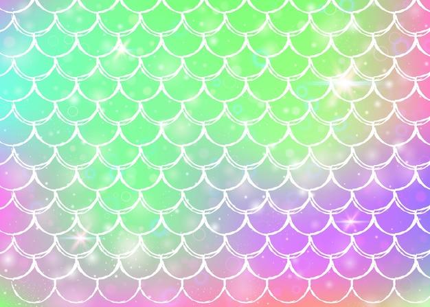 Holographisches meerjungfrauenschwanzmuster mit farbverlauf Premium Vektoren