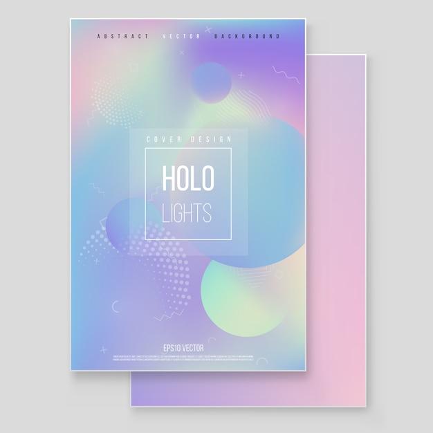 Holographisches papiermarmor-abdeckungsset. Premium Vektoren