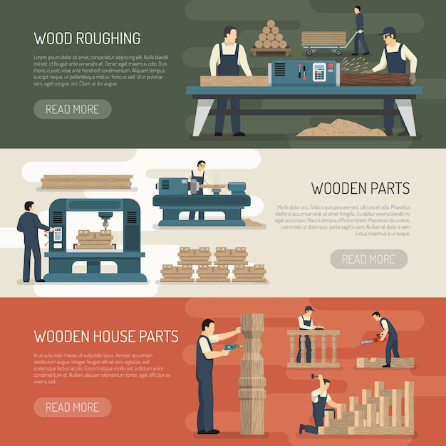 Holz schruppen horizontale banner Kostenlosen Vektoren