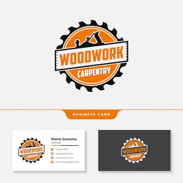 Holzarbeiten zimmerei logo entwurfsvorlage Premium Vektoren