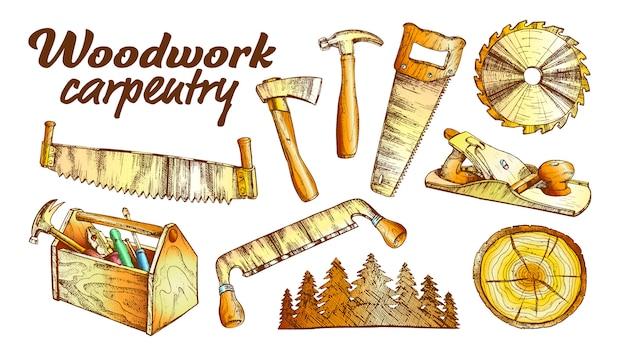 Holzarbeiten-zimmerei-sammlungs-ausrüstungs-satz Premium Vektoren