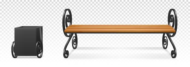 Holzbank und metallmülleimer für park oder garten isoliert auf transparent Kostenlosen Vektoren