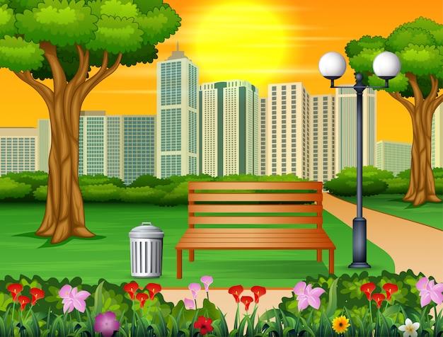 Holzbank und mülleimer im stadtpark mit wolkenkratzern Premium Vektoren