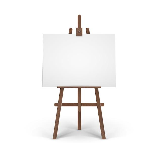 Holzbraune staffelei mit mock up empty blank horizontal Premium Vektoren