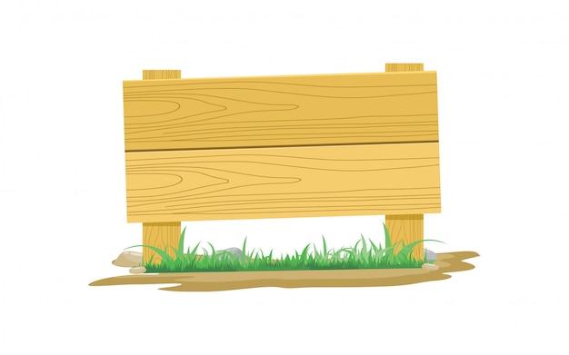Holzbrett-symbol mit gras und stein-vektor-illustration Premium Vektoren