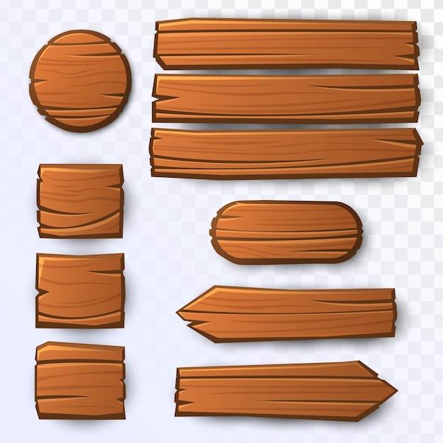 Holzbretter gesetzt Premium Vektoren
