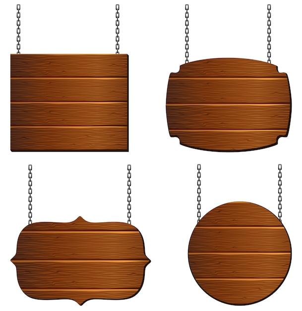 Holzbrettsammlung Premium Vektoren