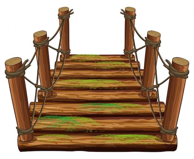 Holzbrücke mit grünem moos Kostenlosen Vektoren