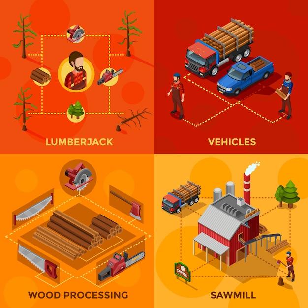 Holzfäller-isometrisches konzept des entwurfes Kostenlosen Vektoren