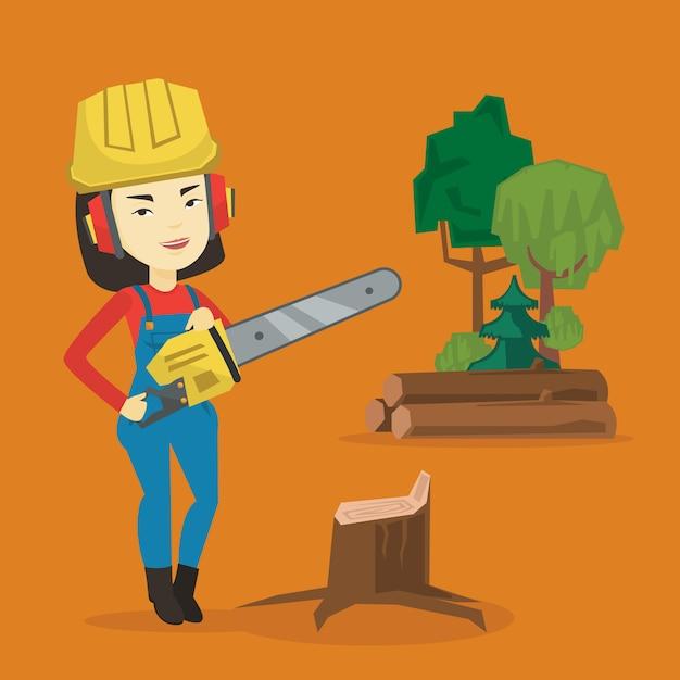Holzfäller mit kettensäge. Premium Vektoren
