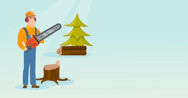 Holzfäller mit kettensägenvektorillustration. Premium Vektoren