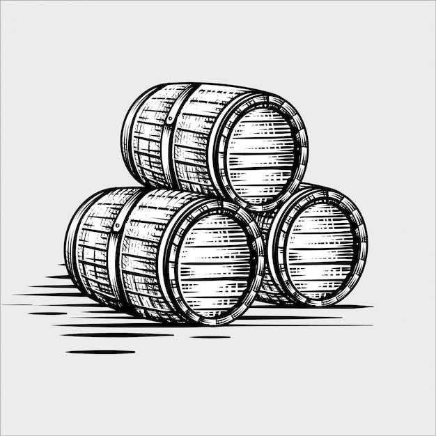 Holzfass handgezeichnete gravur stil illustrationen Premium Vektoren