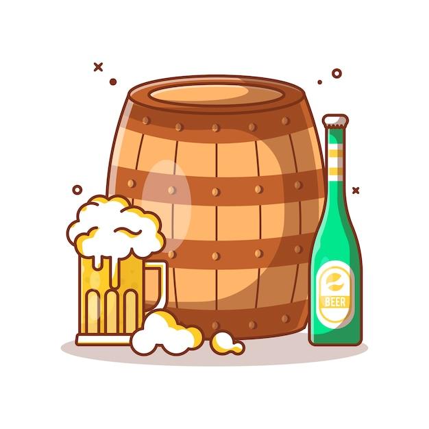 Holzfass und bier illustration Premium Vektoren