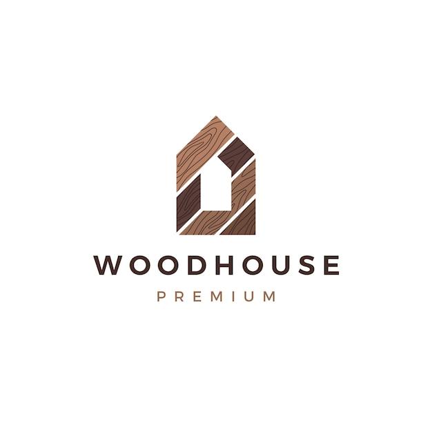 Holzhaus holzplatte wandfassade decking wpc vinyl hpl logo symbol illustration Premium Vektoren