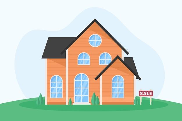 Holzhaus zum verkauf mit schild Kostenlosen Vektoren