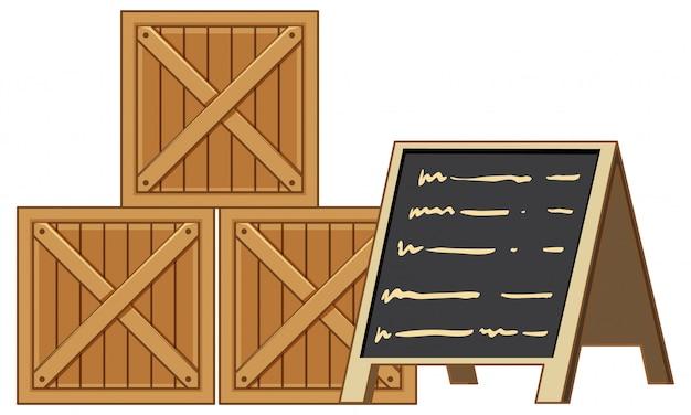 Holzkisten mit menütafel lokalisiert auf weißem schwarzgrund Kostenlosen Vektoren