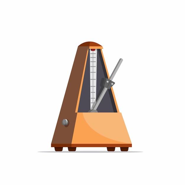 Holzmetronom, musikinstrument-werkzeug in realistischer karikaturillustration lokalisiert im weißen hintergrund Premium Vektoren