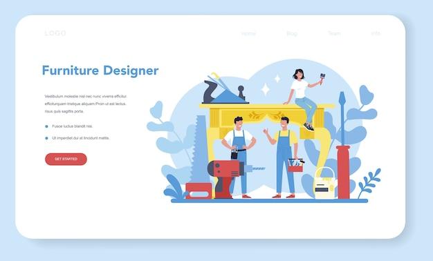 Holzmöbelhersteller oder designer-webbanner oder landingpage Premium Vektoren