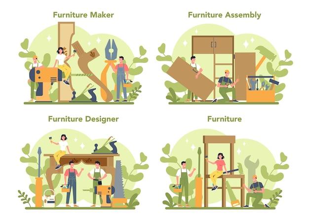 Holzmöbelhersteller oder designer Premium Vektoren