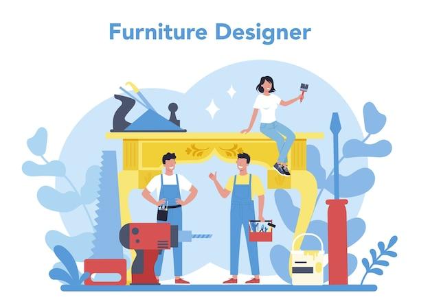 Holzmöbelhersteller oder designerkonzept. reparatur und montage von holzmöbeln. wohnmöbelbau. isolierte flache illustration Premium Vektoren