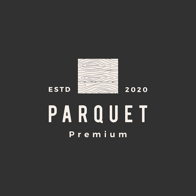 Holzparkettboden vinyl hartholz granitfliesen hipster vintage logo symbol illustration Premium Vektoren