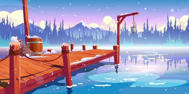 Holzpier am wintersee Kostenlosen Vektoren