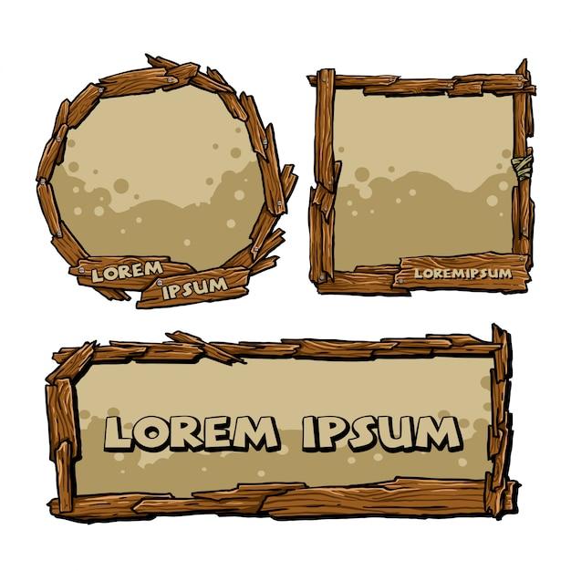 Holzrahmen-set Premium Vektoren