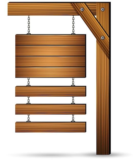 Holzschild hängen mit ketten Premium Vektoren