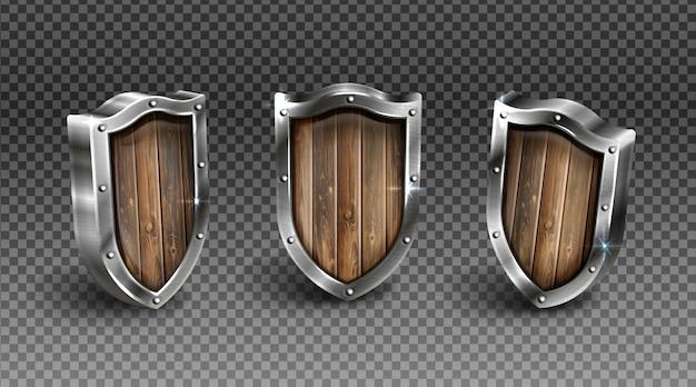 Holzschild mit mittelalterlicher rittermunition mit metallrahmen Kostenlosen Vektoren