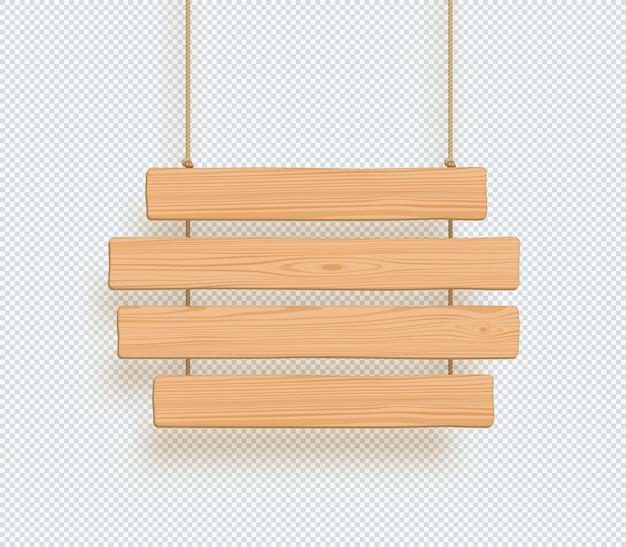 Holzschild vier hängende planken Premium Vektoren