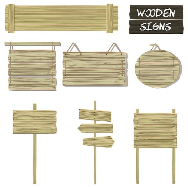 Holzschilder Premium Vektoren
