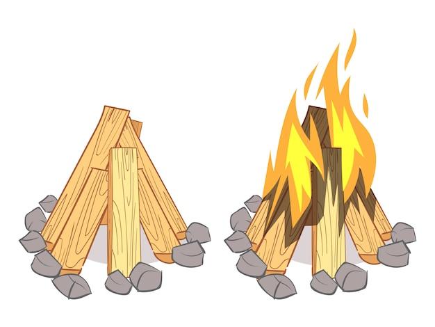 Holzstapel, hartholzbrennholz, holzscheite und lagerfeuer im freien Premium Vektoren