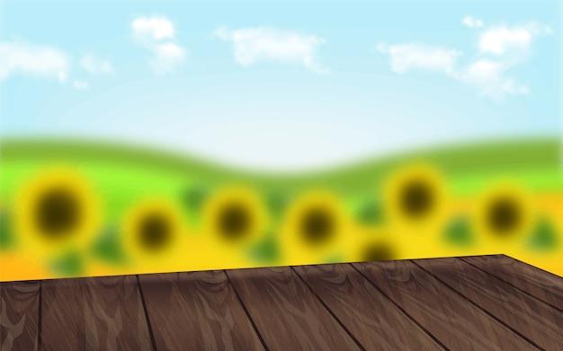 Holztisch mit sonnenblumen Premium Vektoren
