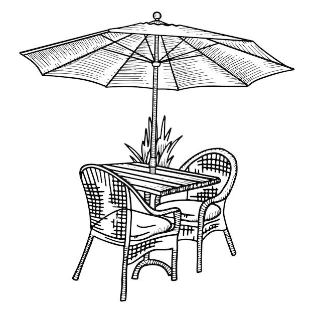 Holztisch und zwei korbstühle unter sonnenschirm. skizze hand gezeichnete illustration. schwarz-weiß-straßencafémöbel Premium Vektoren