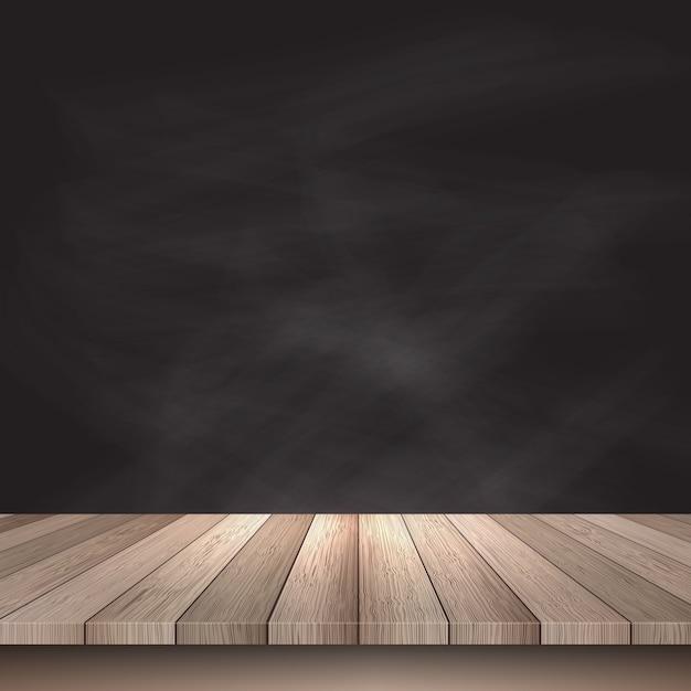 Holztisch vor einer Tafel Hintergrund Kostenlose Vektoren
