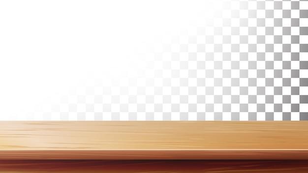 Holztischplatte. leerer stand für die anzeige ihres produkts Premium Vektoren