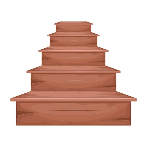 Holztreppenillustration auf weißem hintergrund Premium Vektoren
