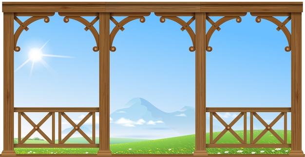Holzveranda in den bergen Premium Vektoren