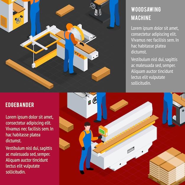 Holzwerk banner eingestellt Kostenlosen Vektoren