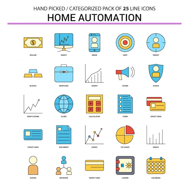 Home automation flat line icon set Premium Vektoren