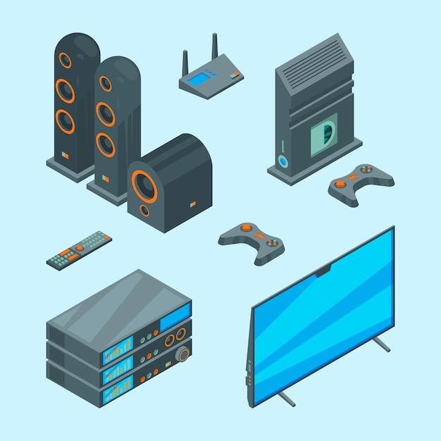Home-entertainment. isometrische konsole für spiele tv laptop audio lautsprecher theater computer bilder Premium Vektoren