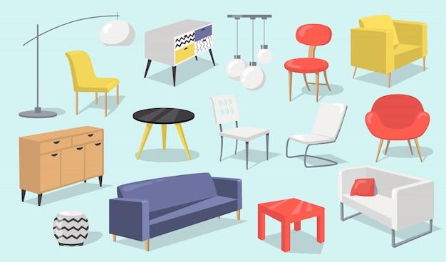 Home interior elemente gesetzt Kostenlosen Vektoren