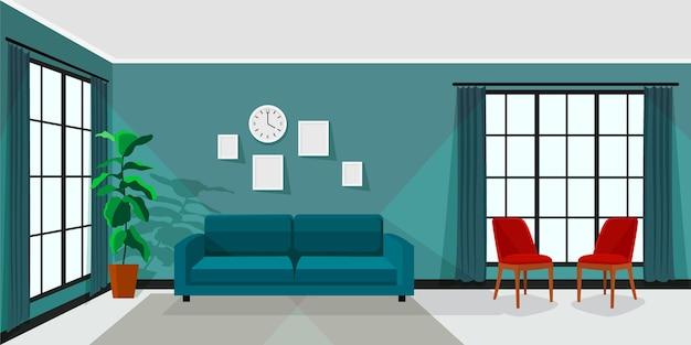 Home interior hintergrund für videokonferenzen Premium Vektoren