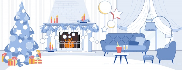 Home interior weihnachtsschmuck Premium Vektoren