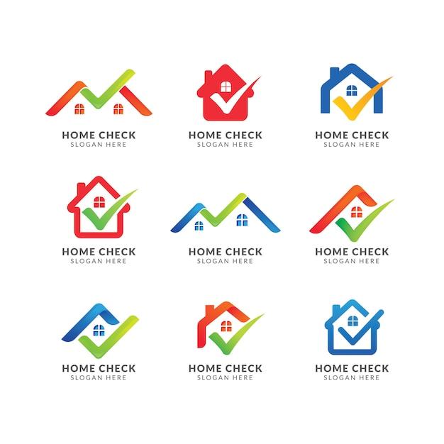 Home logo template mit häkchen. logo für immobilienagentur. überprüfen sie das home-symbol-design Premium Vektoren