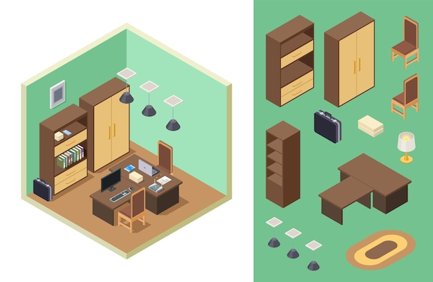 Home office isometrisch Premium Vektoren
